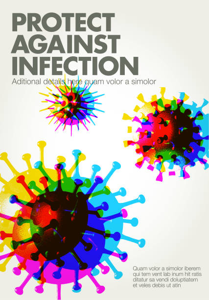 Virus Cell Background Posterised or Pop Art styled Virus Cells viral infection stock illustrations