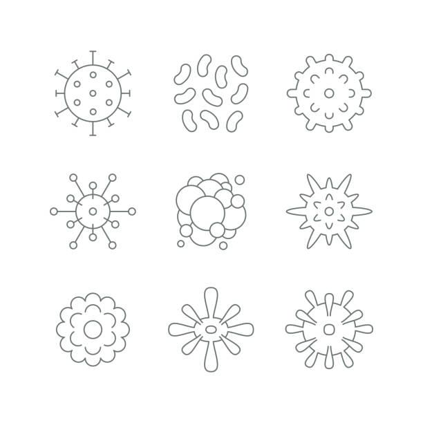 ilustraciones, imágenes clip art, dibujos animados e iconos de stock de iconos de células de virus - cáncer tumor