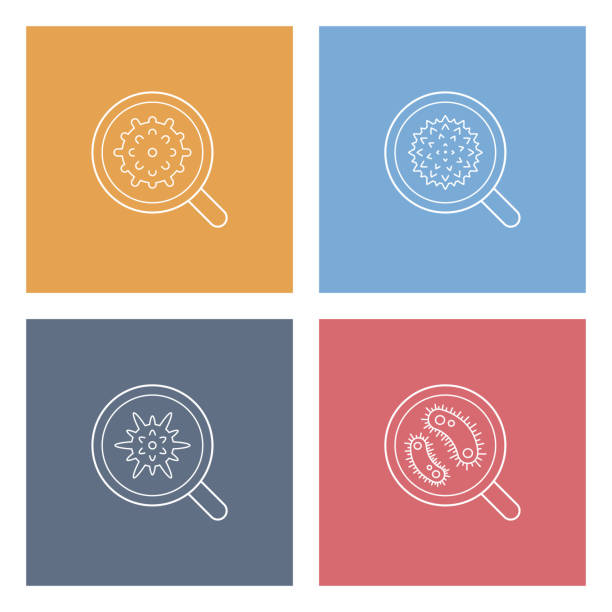 virus cell icons - карниз stock illustrations