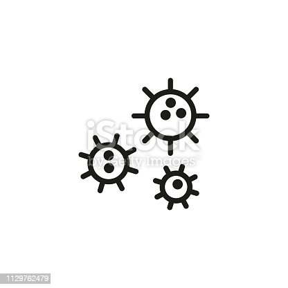 Virus cells line icon. Microbes, biology, magnification. Science concept. Can be used for topics like microbiology, research, hygiene
