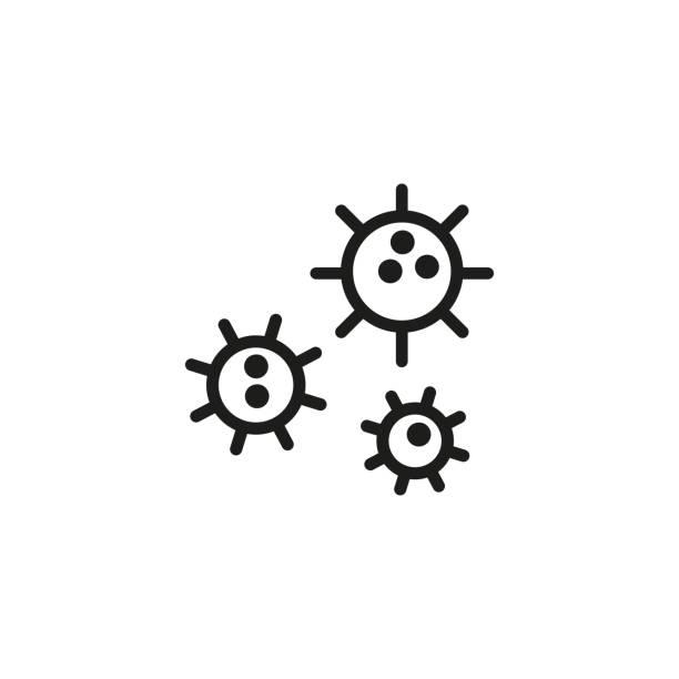 virus zellen liniensymbol - krebs tumor stock-grafiken, -clipart, -cartoons und -symbole