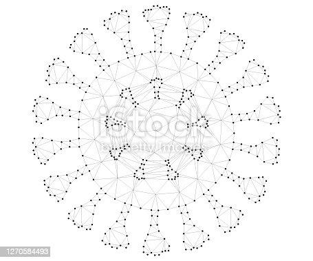 istock Virus cells polygon, covid, b-w 1270584493