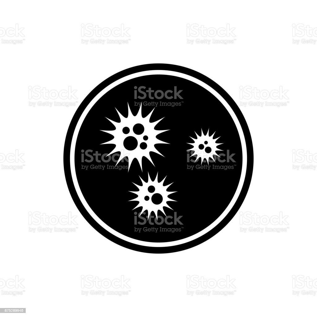 Virus circle icon. Black, round, minimalist icon isolated on white background. vector art illustration