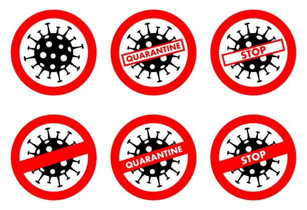 Virus concept. Warning Coronavirus sign. Quarantine zone. Biohazard. Danger. Stop. Banner, backdrop, icon. Biological symbol isolated on white background. Dangerous area icons. Vector illustration. vector art illustration