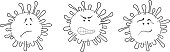 Virus Covid-19 Coronavirus sign symbol vector illustration hand drawing graphic scribbles different faces and emotions sketches doodles