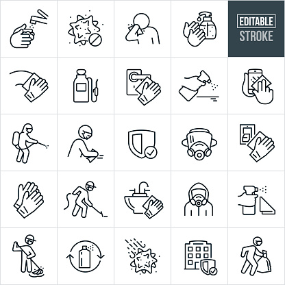 Virus Disenfecting and Decontamination Thin Line Icons - Editable Stroke