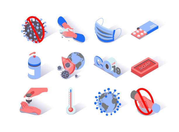 Virus epidemic isometric icons set. Soap, safety mask, antiseptic and pills pictograms. World hygiene and quarantine. – artystyczna grafika wektorowa