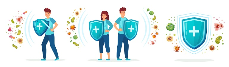 Virus germs and bacteria protection. Healthy immune system, adult man and woman protected from viruses and bacterias by immunity shield vector iilustration set