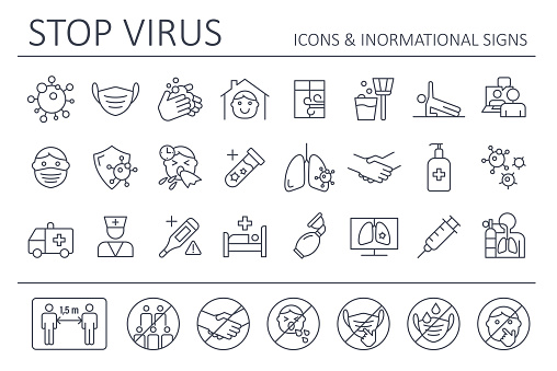 Virus - Icon Set and Prohibited Signs. Coronavirus vector illustration