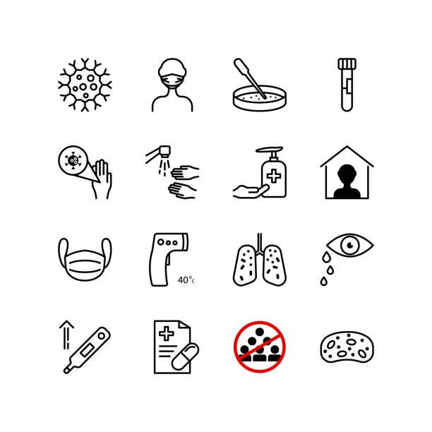 stockillustraties, clipart, cartoons en iconen met viruspictogramset - tears corona