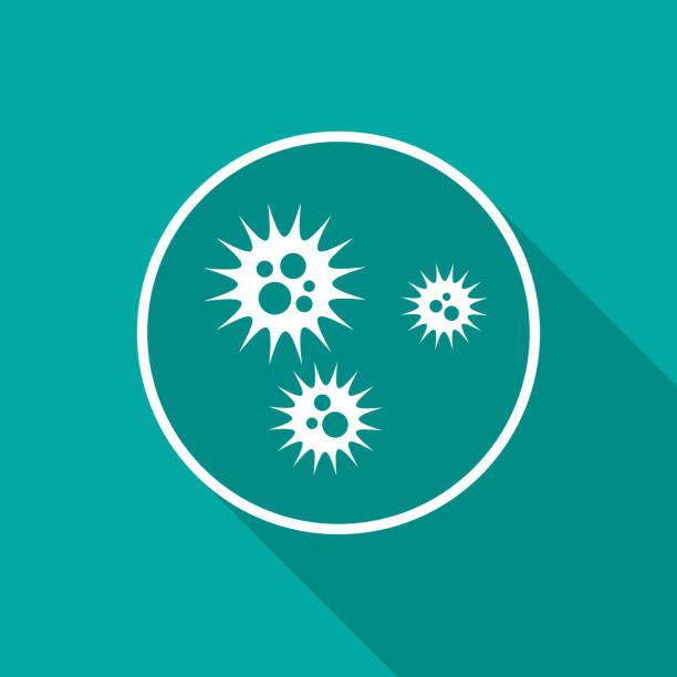 Virus icon with long shadow. Flat design style. Virus icon with long shadow. Flat design style. Petri dish simple silhouette. Modern, minimalist icon in stylish colors. Web site page and mobile app design vector element. infectious disease stock illustrations