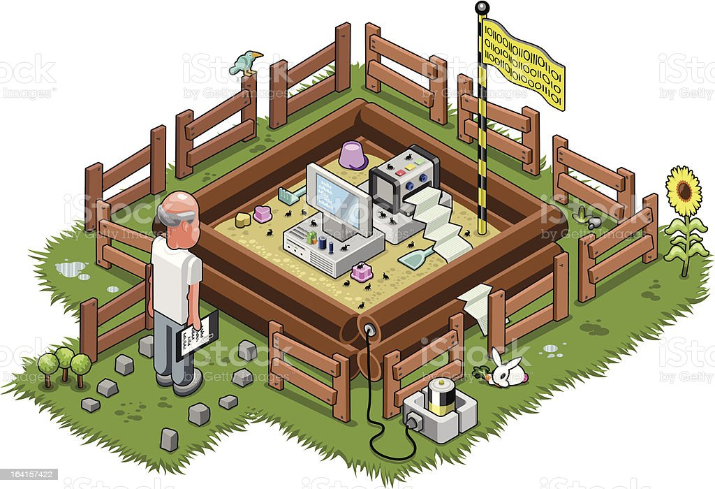 Virus in a sandbox (isometric vector illustration) vector art illustration