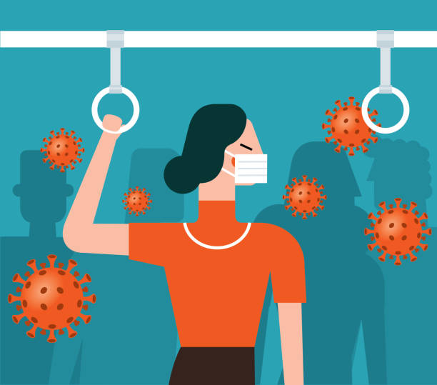 Virus in der U-Bahn - Geschäftsfrau – Vektorgrafik