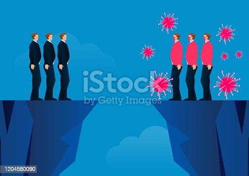istock Virus infected and uninfected separated by two mountains 1204580090
