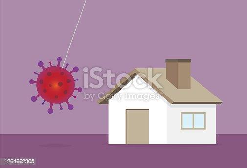 istock A virus is crashing a house 1264662305