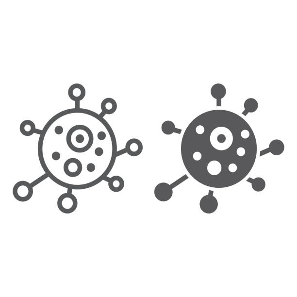 Virus line and glyph icon, bacterium and biology, microbe sign, vector graphics, a linear pattern on a white background. Virus line and glyph icon, bacterium and biology, microbe sign, vector graphics, a linear pattern on a white background, eps 10. parasitic stock illustrations