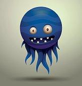 Virus microbe, blue
