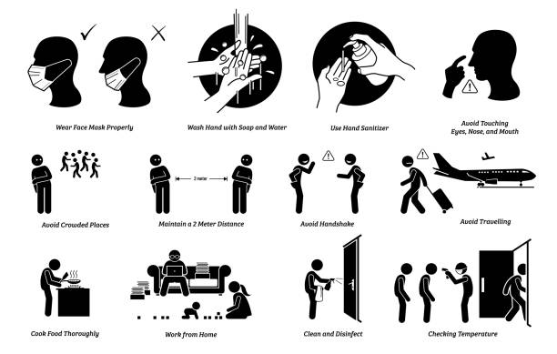 virus outbreak risks, prevention, preparedness tips actions to do and do not. - covid mask stock illustrations