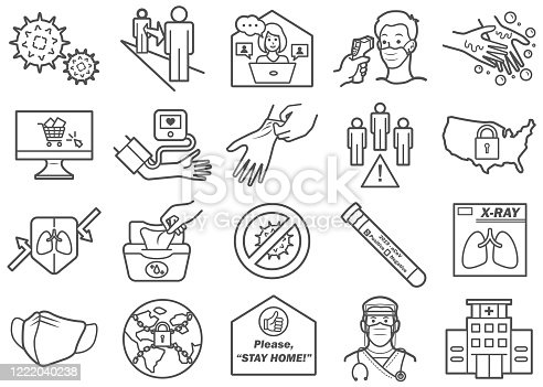 There is a set of icons about virus and related stuffs in the style of Clip art.