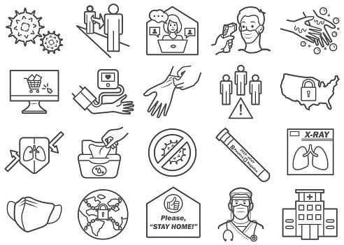 Virus Prevention 02 Line Icons Set
