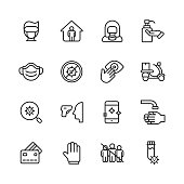 16 Virus Prevention Outline Icons. Person Wearing a Face Mask, Stay Home, Hazmat Suit, Hand Sanitizer, Face Mask, Stop Virus, Don't Touch Your Eyes, Food Delivery, Virus Testing, Temperature Gun, Disinfect Your Phone, Washing Hands, Credit Card, Latex Gloves, Social Distancing, Laboratory Test.