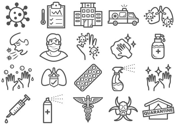 virus prevention line icons set - covid 19 stock illustrations