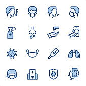 Virus Prevention icons set #02 Specification: 16 icons, 36x36 pх, stroke weight 2 px Features: Pixel Perfect, Dichromatic, Single line   First row of icons contains: Temperature (Fever), FFP Mask, Coughing sick (coronavirus spread), Wearing Face Mask;  Second row contains: Disinfectant spray, Sneezing, Washing Hands, Liquid Soap Dispenser;  Third row contains: Virus Covid-19, Medical Mask, Thermometer, Pneumonia icon (Lungs);   Fourth row contains: FFP Face Mask, Hospital building, Virus Prevention Sign, Doctor Call.  Complete BLUE MICO collection - https://www.istockphoto.com/collaboration/boards/Y8ZYtc2sY0qNQVGRttlncQ