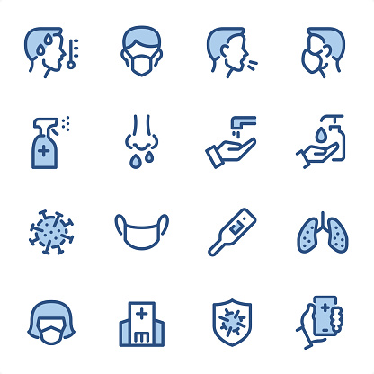 Virus Prevention - Pixel Perfect blue line icons