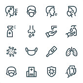 Covid-19 Virus Prevention icons set #10 Specification: 16 icons, 36x36 pх, stroke weight 2 px Features: Pixel Perfect, Unicolor, Single line   First row of icons contains: Temperature (Fever), FFP Mask, Coughing sick (coronavirus spread), Wearing Face Mask;  Second row contains: Disinfectant spray, Sneezing, Washing Hands, Liquid Soap Dispenser;  Third row contains: Virus Covid-19, Medical Mask, Thermometer, Pneumonia icon (Lungs);   Fourth row contains: FFP Face Mask, Hospital building, Virus Prevention Sign, Doctor Call.  Complete MICO collection - https://www.istockphoto.com/collaboration/boards/UUv7uLop-06yEw9xnOBMNg