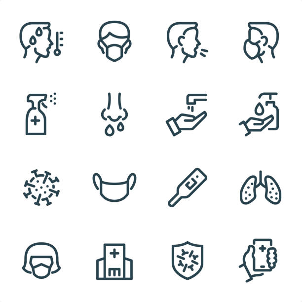 virus prevention - pixel perfect unicolor line icons - coronavirus stock illustrations