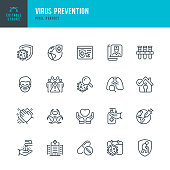 Virus Prevention - thin line vector icon set. 20 linear icon. Pixel perfect. Editable outline stroke. The set contains icons: Coronavirus, Virus, Quarantine, Vaccination, Biohazard Symbol, Washing Hands, Social Distancing, Face Mask.