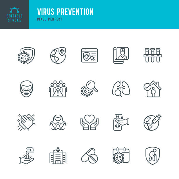 Virus Prevention - thin line vector icon set. Pixel perfect. Editable stroke. The set contains icons: Coronavirus, Virus, Quarantine, Vaccination, Biohazard Symbol, Washing Hands, Social Distancing, Face Mask. Virus Prevention - thin line vector icon set. 20 linear icon. Pixel perfect. Editable outline stroke. The set contains icons: Coronavirus, Virus, Quarantine, Vaccination, Biohazard Symbol, Washing Hands, Social Distancing, Face Mask. illness prevention stock illustrations