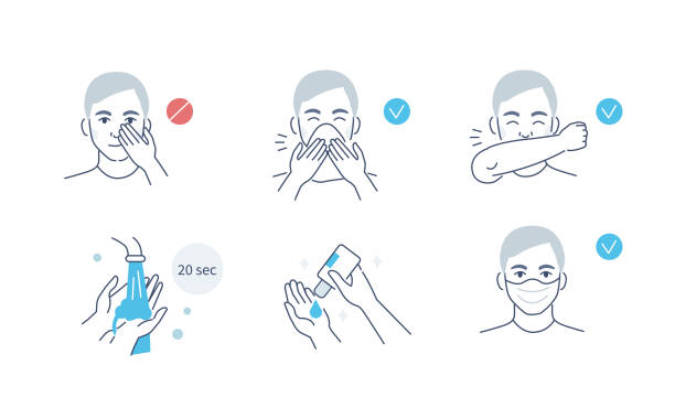 virus prevention Infographic Steps How Prevent Respiratory Diseases. Correct Couching and Sneezing, Cleaning Hands with Antiseptic Gel, Wearing Mask. Virus and Infection prevention. Flat Cartoon Vector Illustration. covid icon stock illustrations
