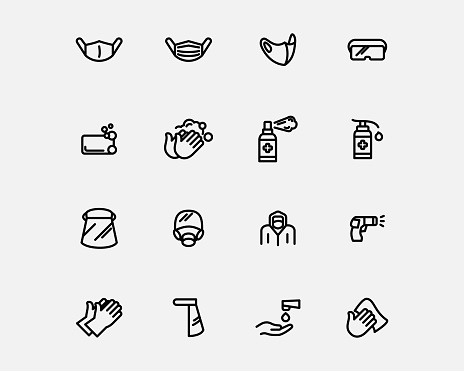Virus protection equipments icons set vector line style