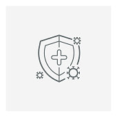 Virus protection icon,COVID-19 protection virus, Illustration with shield and virus,vector illustration. EPS 10.