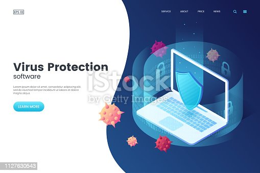 Virus protection vector illustration. Internet security. Cyber attack on the computer. Computer protection by antivirus software. Isometric concept. Protective laptop and shield.