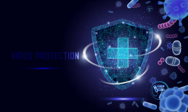 illustrazioni stock, clip art, cartoni animati e icone di tendenza di virus protection vector web banner, website page template - virus protection