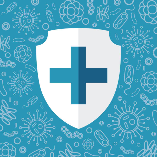 Virus protection. White shield for text on a blue background surrounded by viruses and bacteria. Vector illustration isolated for design and web. Virus protection. White shield for text on a blue background surrounded by viruses and bacteria. Vector illustration isolated for design and web. spreading stock illustrations