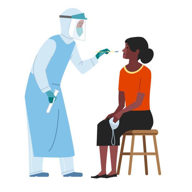 Virus Swab testing Nurse in PPE taking a swab sample from a patient nasal swab stock illustrations