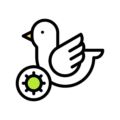 virus transmission or coronavirus related infected bird vector with editable stroke,
