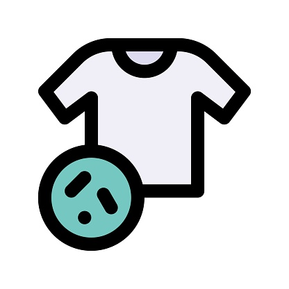 virus transmission related t shirt with germs or virus vector with editable stroke,