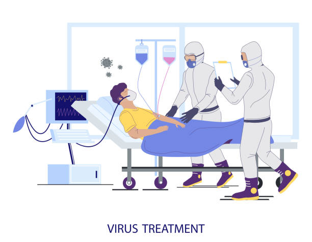 ilustrações de stock, clip art, desenhos animados e ícones de virus treatment in hospital icu room concept vector flat illustration - covid hospital