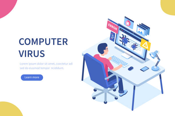 virus Computer virus concept with character and text place. Can use for web banner, infographics, hero images. Flat isometric vector illustration isolated on white background. computer virus stock illustrations