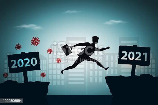 Viruses escape concept, businessman jumping between 2020 and 2021 years with city background