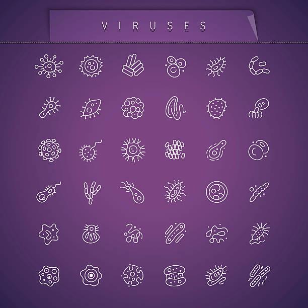 вирусы тонкий иконки набор - карниз stock illustrations