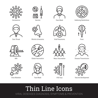 Viruses, viral infection, medical laboratory thin line icons. Vector set of medicine science. Viral disease, diagnosis, symptom, prevention, protective measures pictograms collection isolated on white background. Editable stroke.