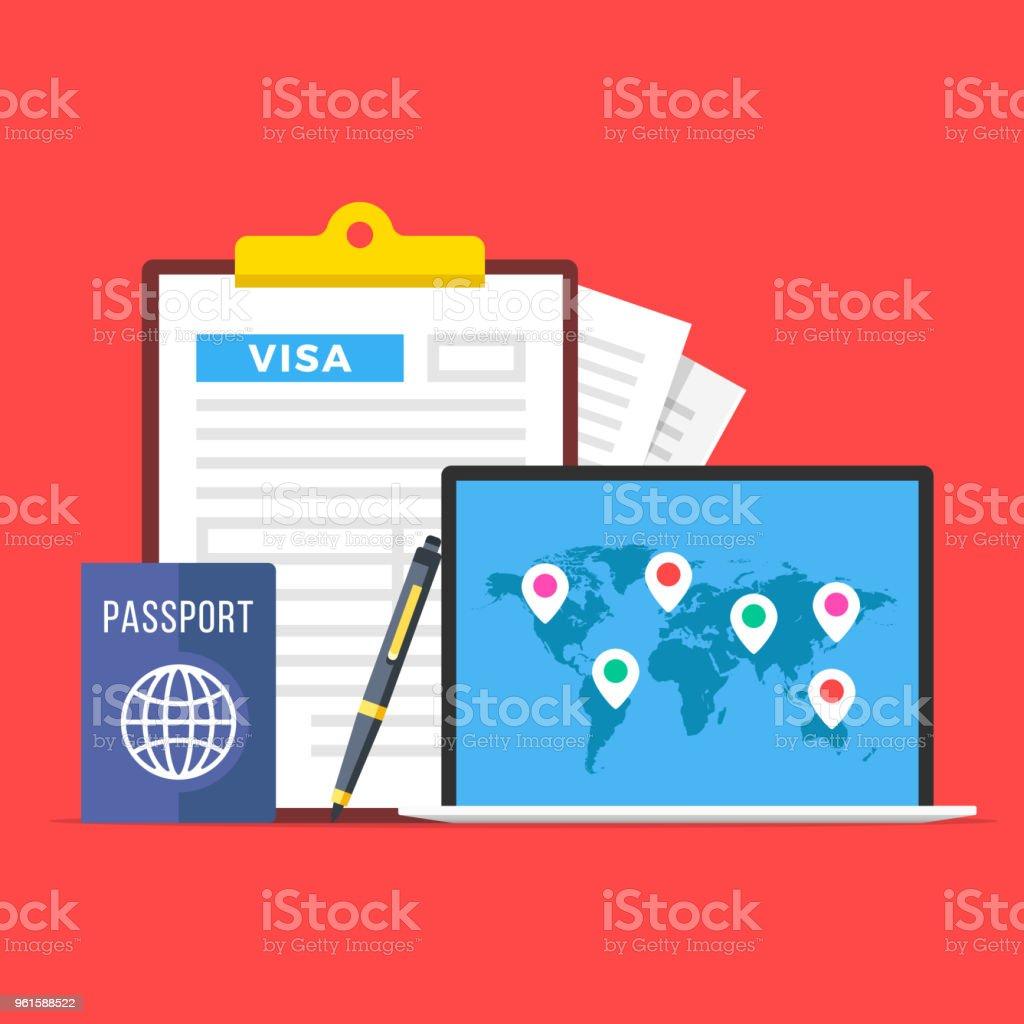 Demande De Visa Pressepapiers Avec Le Formulaire De Demande De Visa Passeport Plume Et Portable Avec Carte Des Marqueurs Mondiale Et De La Carte Voyages Tourisme Vacances Des Concepts Design Plat Illustration