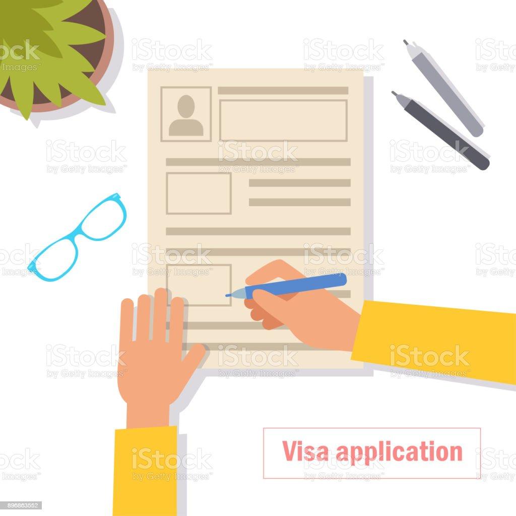 Visa application. Vector vector art illustration