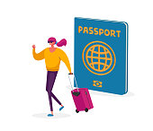 Visa Approval Concept. Tiny Tourist Woman Character with Suit Case at Huge Passport Traveling Abroad. Travel Agency Service, Exotic Country Trip, Active Lifestyle, Journey. Cartoon Vector Illustration