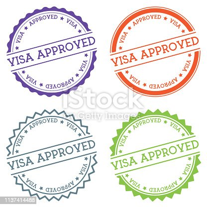 Visa approved badge isolated on white background. Flat style round label with text. Circular emblem vector illustration.